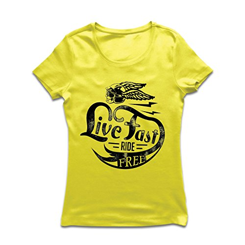 Frauen T-Shirt Live Fast Die Free - Klassische Bikers Kleidung, Motorradausrüstung, Motorrad Sprüche (Medium Gelb Mehrfarben)