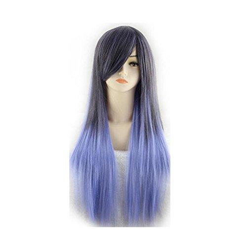 Beatayang Fashion Perruque Postiche européennes Cosplay /Les cheveux raides cheveux longues Violet&Noir