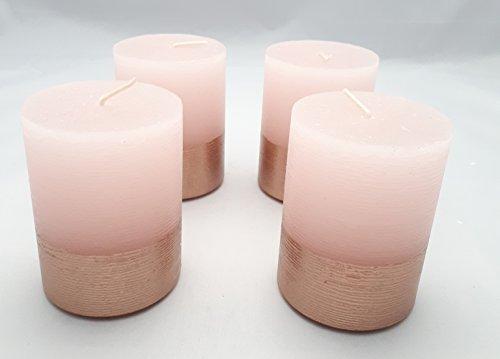 Unbekannt 4X Stumpenkerzen Rosa 80/60mm Kerzendeko Kerze Tischdeko Kommunion Konfirmation Taufe Hochzeit Weihnachten Adventskranz
