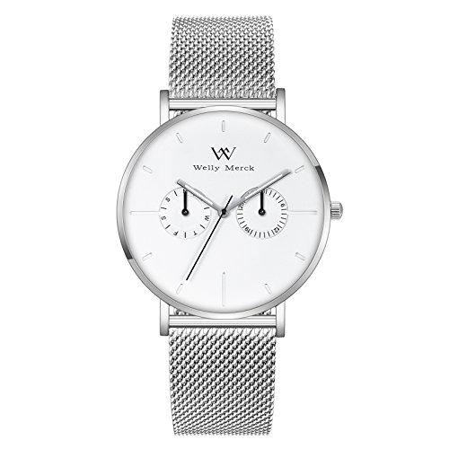 Welly Merck Herren Analog Uhren Schweizer Quarzwerk Mit Silber Edelstahl Armbänder M-C17M1