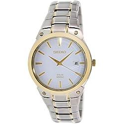 Seiko Solar SNE324P1 Men's Automatic Watch Analogue Watch-White Face - 2 Tone steel Bracelet