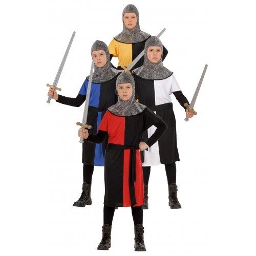 Costume Bambino Guerriero medievale ass. in 4 colori Taglia 128 cm / 5-7 Anni