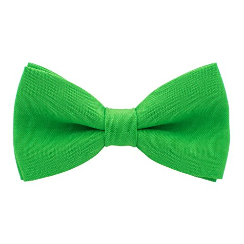 Bow Tie House Classic Pre-Tied Bow Tie Formal Solid Tuxedo, by (Small, Green Shamrock) (Tie Green Bow)