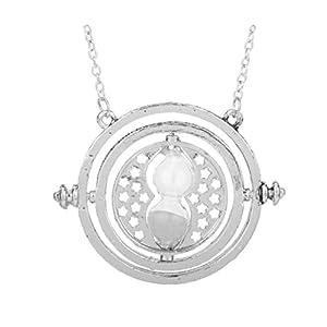 Inception Pro Infinite Halskette – Zeituhr – Sanduhr – Weißer Sand – Silberfarbe