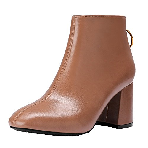 (Stiefel Damen Vintage, Sonnena Britisch Quadratischer Kopf Stiefel Casual Dicke High Heels Boots Stiefel Frauen Elegant Zipper Stiefel Damenschuhe Einfarbig Lederstiefel)