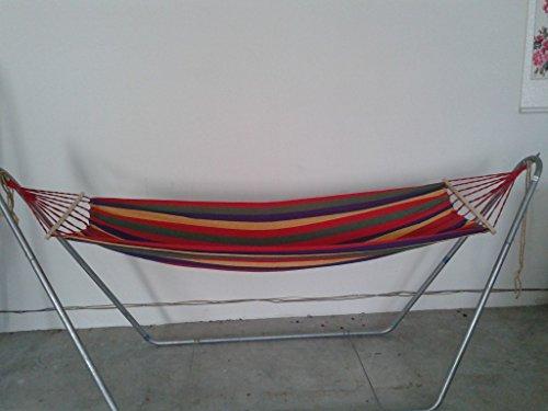 QAZSE Hamac simple de repos de toile extérieure (190cm * 80cm, bois blanc 60 cm) pour envoyer la corde attachée + sac