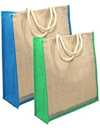 Combo Of 2 Different Size Jute Bag Multipurpose Grocery/ Shopping /gift Bag With Zip Closure - Assorted Colours