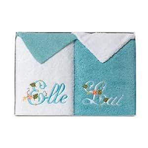 Coffret pour elle et lui ! 2 serviettes + 2 gants brodés bicolores, 550g/m2, Blanc/Lagon