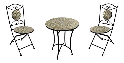 Mosaik Gartenmöbel Set - 1 Tisch und 2 Stühle hell natur