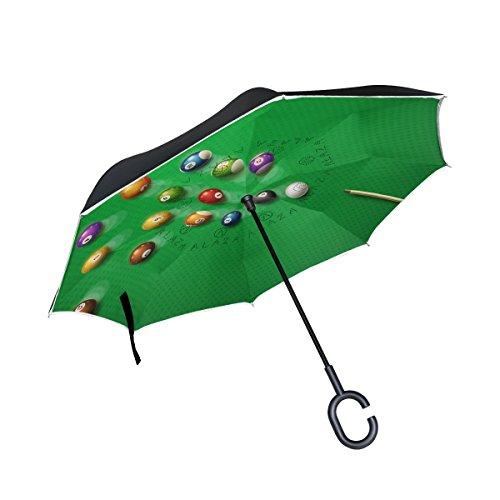 bennigiry Billard Poster Pool Hall Acht Ball Double Layer seitenverkehrt Regenschirme Rückseite Faltbarer Regenschirm von, winddicht UV-Schutz Big gerade Regenschirm für Auto Regen Outdoor mit C-förmigem - Pool Bilder Hall
