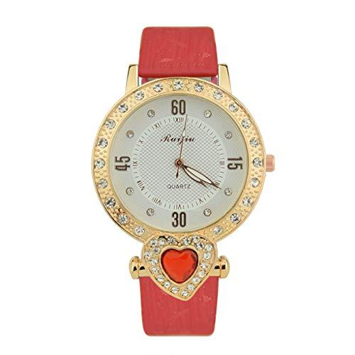 IG Invictus Luxus Damen Metall Quartz Lether Gürtel Zifferblatt mit Diamant Damenuhren Ruijiu mit Diamant Liebes Armbanduhr ZYBFLS 35 MIT Drill Liebe lässig auf rot