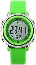 Childens relojes reloj deportivo con cronómetro y 7LED retroiluminación función tiempo maestro azul & blanco & verde correa de silicona de niños niñas watch-green