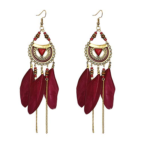 UINGKID Damen Ohrringe Mode Ohrstecker Vintage Frauen quaste ethnischen stil feder lange