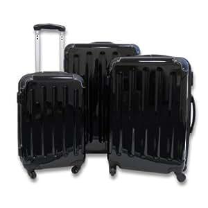 Hauptstadtkoffer Lot de 3 valises rigides 4 roulettes - Extensibles - Noir brillant - De la marque Haupstadtkoffer