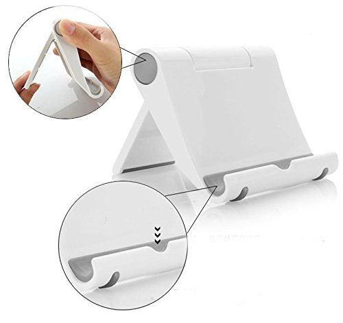 REALMAX® Universal Adjust Portable Tablet Stand Holder for iPad 3/4/Mini Kindle iPhone 5 5C 5S 6 6 Plus Samsung Nokia HTC LG (White)