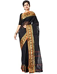 Slice Of Bengal Light Weight Broad Border Cotton Handloom Taant Tangail Saree-Black