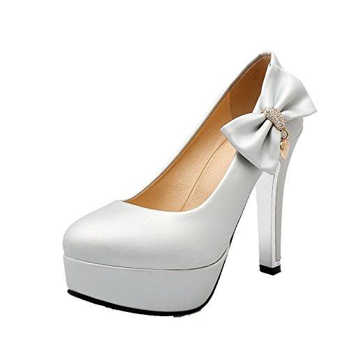 VogueZone009 Damen Pu Leder Hoher Absatz Rund Zehe Eingelegt Ziehen Auf Pumps Schuhe Silber
