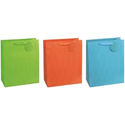 TSI - Bolsas de regalo con decoración de rayas, paquete de 12, ordenado en 3 temas