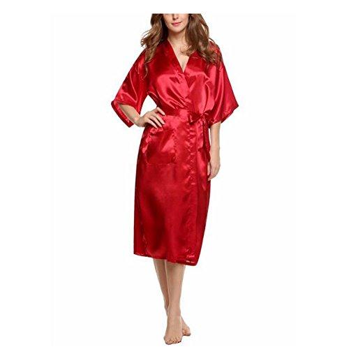 Haodasi Frauen Kimono Robes Morgenmantel Luxus Reine Farbe Schlafanzüge Seide Satin Lange Klassisch Hochzeit Nachtwäsche Bademantel Mit Tasche (Seide Harem)