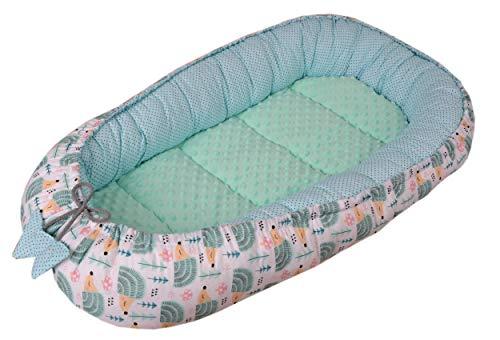 Waschen Sanfte Minze (Babynest Kuschelnest Babynestchen 100% Baumwolle Nestchen Reisebett für Babys Säuglinge Medi Partners 90x50x13cm herausnehmbarer Einsatz (minze Igel mit minzer Minky))