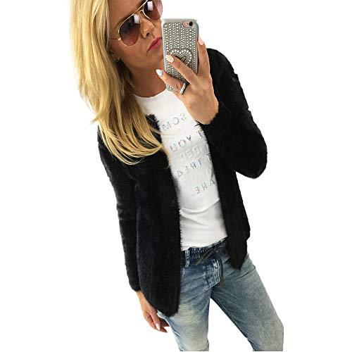 Femme Sweatshirt Cardigan Polaire Chaud Tops De Sport Hoodies Slim Veste Femme Chic Hiver, Outerwear Crop Top Pullover Blouson Tops Mode (Noir, S)