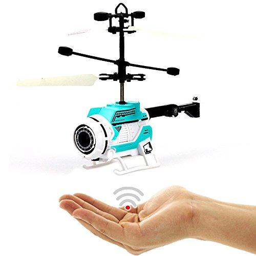 FUN Helicopter (Blau),Fliegender Space Hubschrauber-Neueste Version 2018!Einfach zu Steuern per Handbewegung!!Ein super Geschenk für alle Technik Freaks zu Weihnachten!-Helicopter,Mini Drohne
