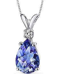 Revoni Concave Trillion Cut 7.00 carats Sterling Silver Rhodium Finish Swiss Blue Topaz Pendant W5pSY4Rj