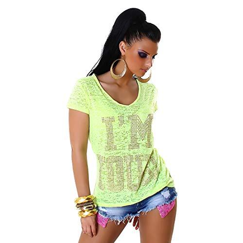 f4y Damen Statement Jersey T-Shirt I'm Yours mit V-Neck - Neon - Strassbesatz - Grüne Damen Strass T-shirt