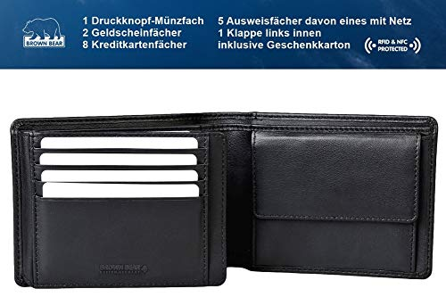 Brown Bear Geldbörse Herren Leder schwarz 8005 D bk - 2