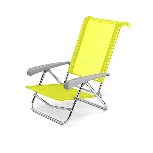 Spiaggina in alluminio sedia mare con schienale reclinabile giallo solero