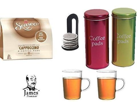 Senseo Kaffeepads Cappuccino 8 Coffee Pads + 2 Metallicdosen mit Padheber + 2 Kaffeebecher mit