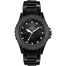 Schöne Damen-Armbanduhr mit Swarovski-Kristallen, Silikon Schwarz 32