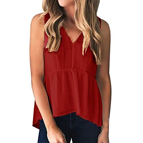 CAOQAO Damen Sommer Schulterfrei Sweatshirt ÄRmellose Damenmode Mit V-Ausschnitt Feste Tanktops Freizeithemden Bluse -