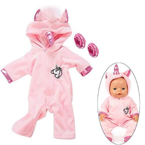 Ouinne Uinicornio Ropa Trajes Vestidos para Muñecas de Bebé en Tamaño 17-18' (Rosado)