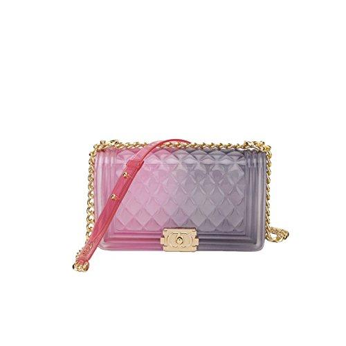 2018 Sommer Weiblich Mode Einfach Lingge PVC Schulter Kette Schlinge Clutch Bag Hand Tragen Mini Tasche Leder Tasche Baby Wickeltasche Klar Jelly Tasche,BB-20 * 8 * 12cm