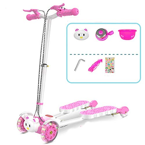 ZHIJINLI Scooter 2-3-6-8 years old feet frog scissors four wheel toy swing twist car pink flash wheel no music Img 3 Zoom