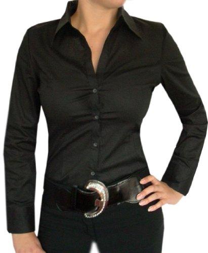 Schicke Blusenbody,Damen Bluse,V-Ausschnitt Bodybluse,Schwarz,Weiß,Pink,Grün od.Blau Schwarz