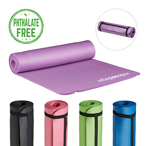 Relaxdays Yogamatte gepolstert, 1 cm dicke Übungsmatte, Für Pilates, Aerobic, Gymnastik, HBT: 1 x 61,5 x 182 cm, lila