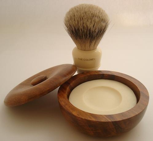 Simpsons Colonel Best Badger shaving brush & shaving bowl by Progress Vulfix -