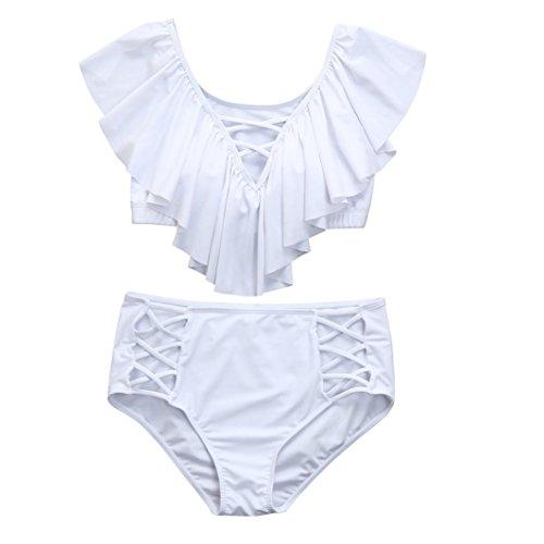 Preisvergleich Produktbild Bikini-Set Internet Damen Plus Size Einfarbig Schulterfrei Crop Tops Reizvolle Bademode + Vintage Farbdruck Badeshorts Mode Swimwear Beachwear Badeanzug High Waist Bikini Set (Weiß, 3XL)