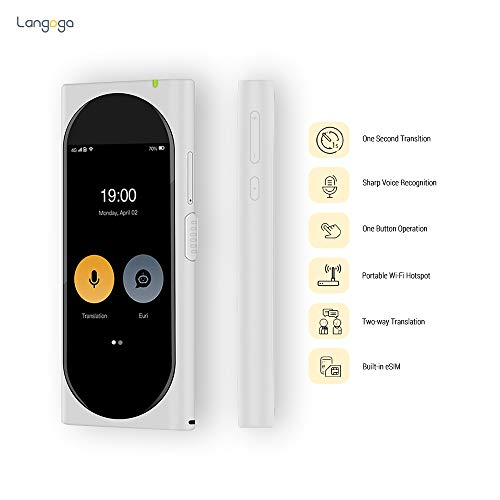 Langogo AI Language Translator Device with Wi-Fi Hotspot, 92 Languages  Instant Two-Way Voice Translator with eSIM Inside, 3 1in Touch Screen,