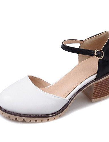 WSS 2016 Chaussures Femme-Mariage / Extérieure / Habillé / Décontracté-Noir / Rose / Blanc / Beige-Gros Talon-Talons-Talons-Similicuir beige-us9 / eu40 / uk7 / cn41