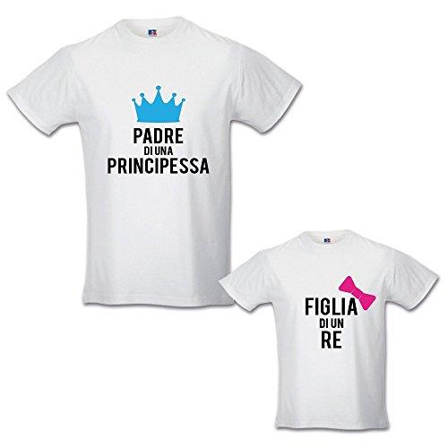 Babloo Coppia di T-Shirt Magliette Papa' E Figlio/Figlia Idea Regalo Festa del Papa' Padre di Un Principe - Principessa Bianche Uomo S - Bimbo 3-4 Anni