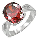 Aussie Swag Jewellery -Stainless Steel Prong-Set Oval Cocktail Ring w/ January Birthstone Gem Stone - Size US 8 -Includes gift Bag