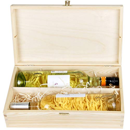 Weinflaschen Geschenkbox mit Deckel und Schloss für 2 Flaschen Wein