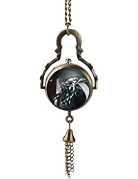 Bronze : Game Of Thrones Pocket Watch Stark Direwolf Pattern Fish-eye Glass Ball Slim Chain Exquisite Men Women...