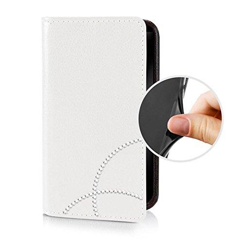 Für Apple iPhone --- 8-Plus --- eSPee Hülle Schutzhülle Wallet Flip Case Cremeweiss mit Strass Borte UNZERBRECHLICHER Silikon Schale / Bumper und Magnetverschluss Weiß