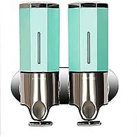 Pared Montado Doble Cabeza Dispensador De Sopa De Aluminio + ABS Jabón Champú Ducha Gel Contenedor