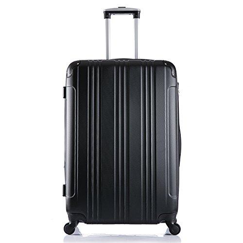 EUGAD #375 Reisekoffer Hartschale Koffer Trolley mit erweiterbare Volumen, Reise Koffer Trolley 4 Rollen, Hartschalenkoffer Handgepäck M/L/XL/Set, leicht und günstig, Schwarz (XL, 76 cm & 110 Liter)