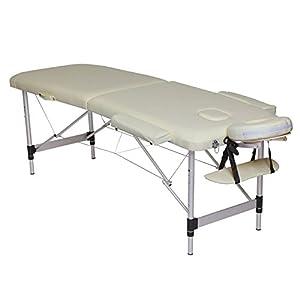 dibea MT00570, 2-Zonen Massagebank, Aluminiumgestell, höhenverstellbar, beige